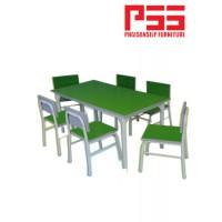 โต๊ะ-เก้าอี้กิจกรรมอนุบาล ขากลม สีขาว JP