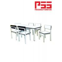 โต๊ะ-เก้าอี้กิจกรรมอนุบาล ขาเหลี่ยม สีขาว JP