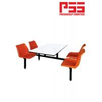 เก้าอี้แถวโพลี 4 ที่นั่ง มีโต๊ะกลาง
