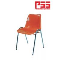 เก้าอี้โพลี ขาเหลี่ยม ชุบโครเมี่ยม